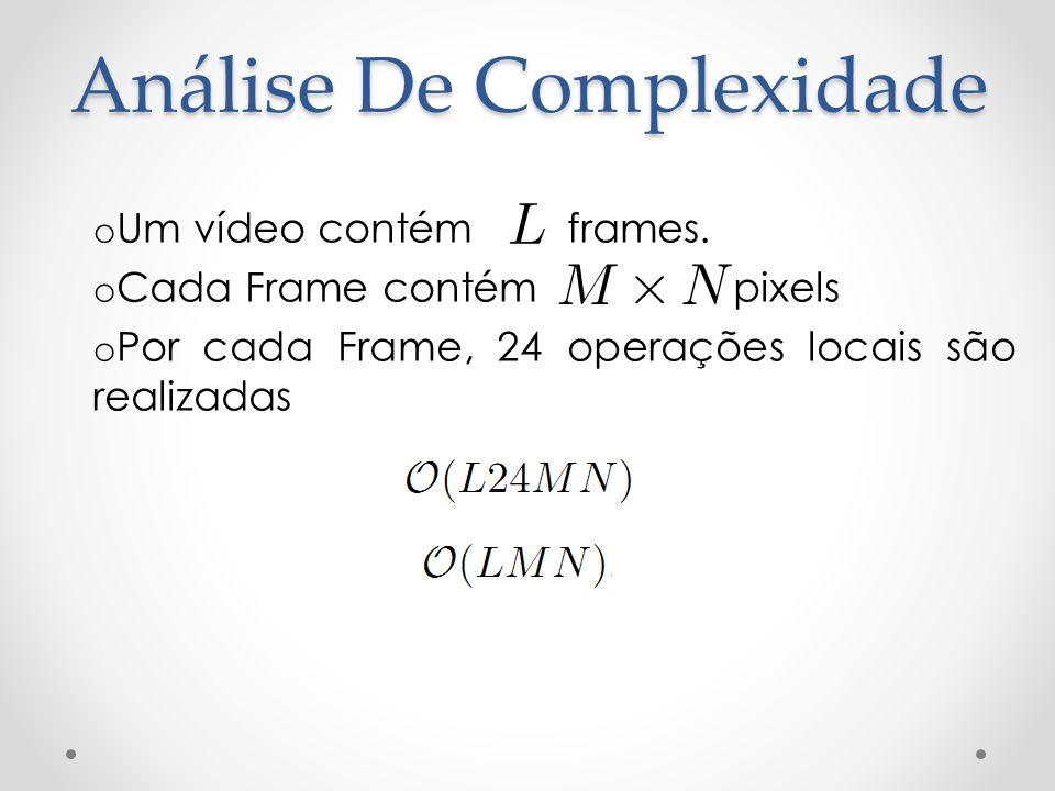 Análise De Complexidade o Um vídeo contém frames. o Cada Frame contém pixels o Por cada Frame, 24 operações locais são realizadas