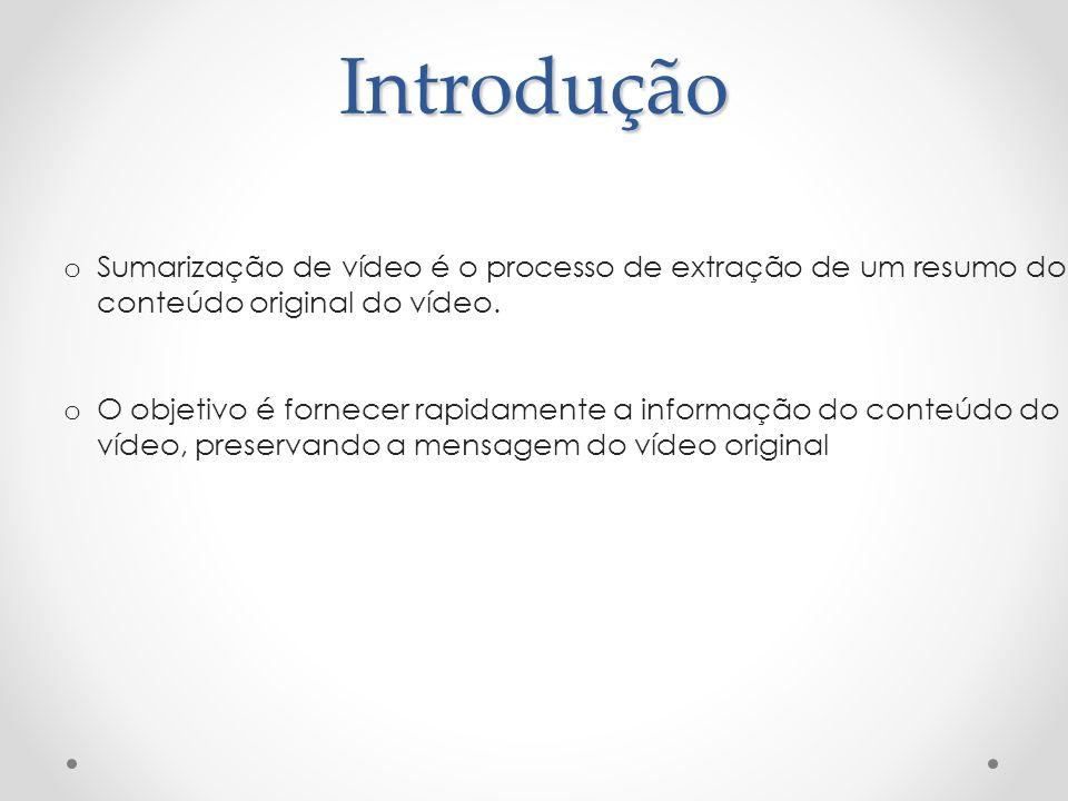 Introdução o Sumarização de vídeo é o processo de extração de um resumo do conteúdo original do vídeo. o O objetivo é fornecer rapidamente a informaçã