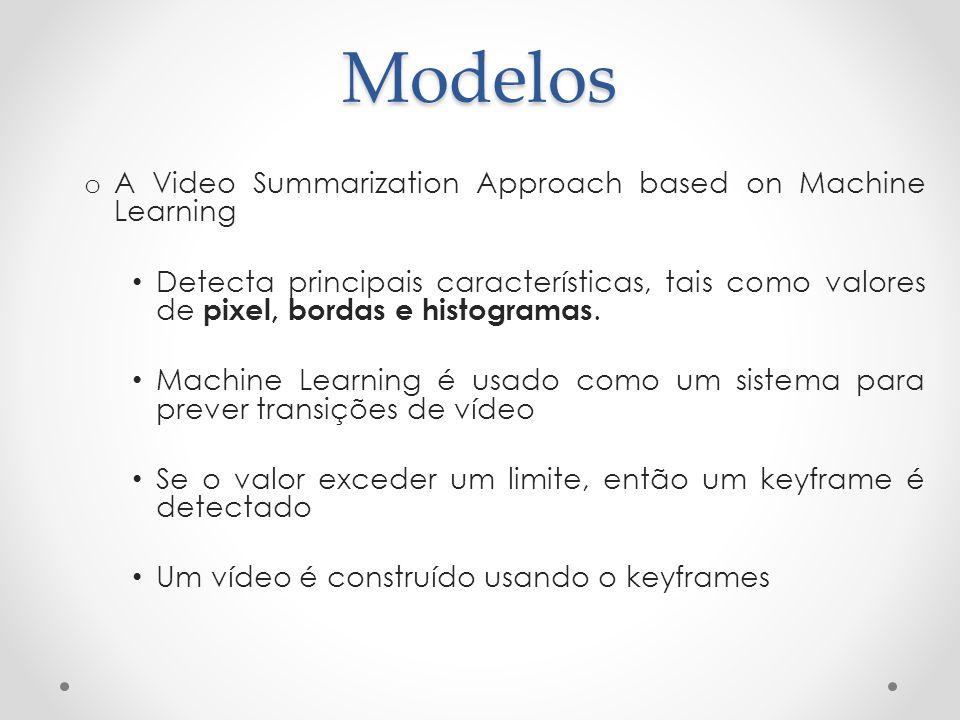Modelos o A Video Summarization Approach based on Machine Learning Detecta principais características, tais como valores de pixel, bordas e histograma