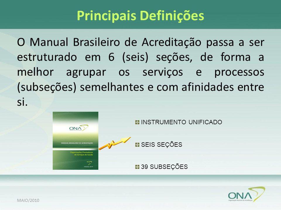 Principais Definições O Manual Brasileiro de Acreditação passa a ser estruturado em 6 (seis) seções, de forma a melhor agrupar os serviços e processos (subseções) semelhantes e com afinidades entre si.