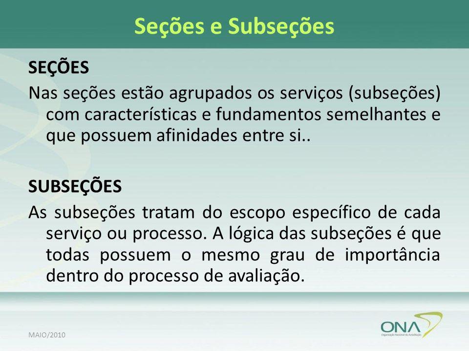 Seções e Subseções SEÇÕES Nas seções estão agrupados os serviços (subseções) com características e fundamentos semelhantes e que possuem afinidades entre si..