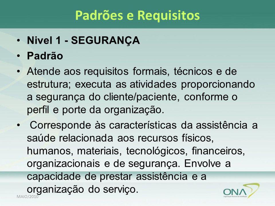 Padrões e Requisitos Nivel 1 - SEGURANÇA Padrão Atende aos requisitos formais, técnicos e de estrutura; executa as atividades proporcionando a segurança do cliente/paciente, conforme o perfil e porte da organização.