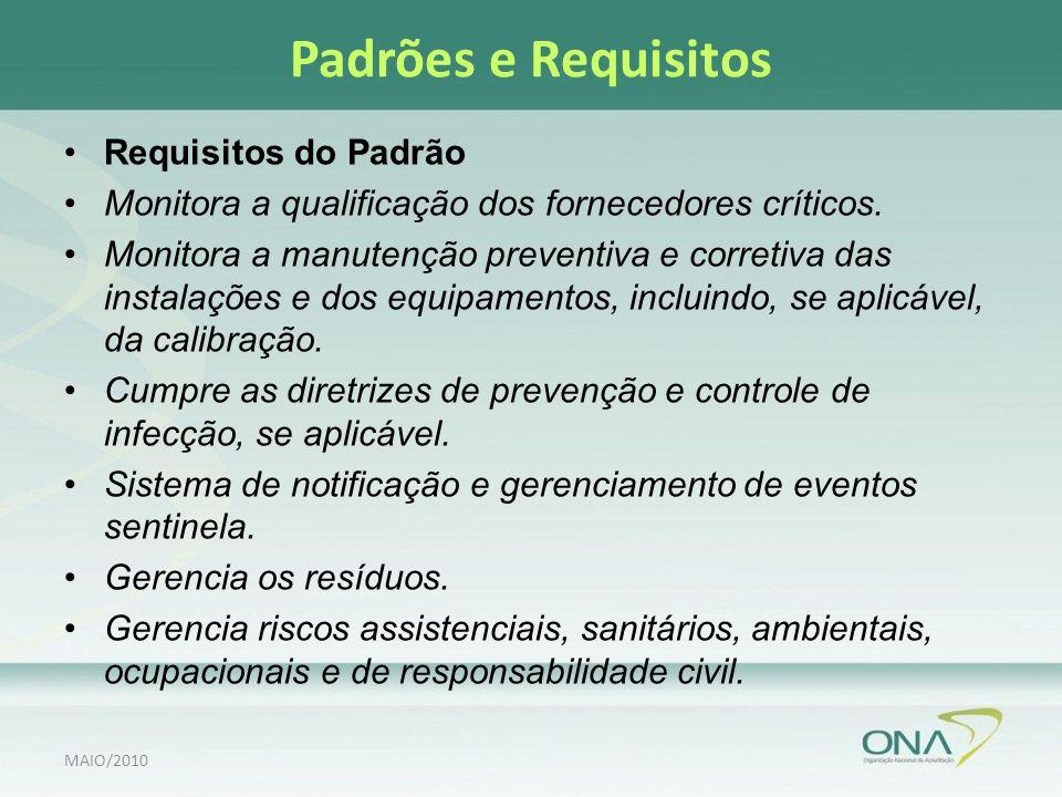 Padrões e Requisitos Requisitos do Padrão Monitora a qualificação dos fornecedores críticos.