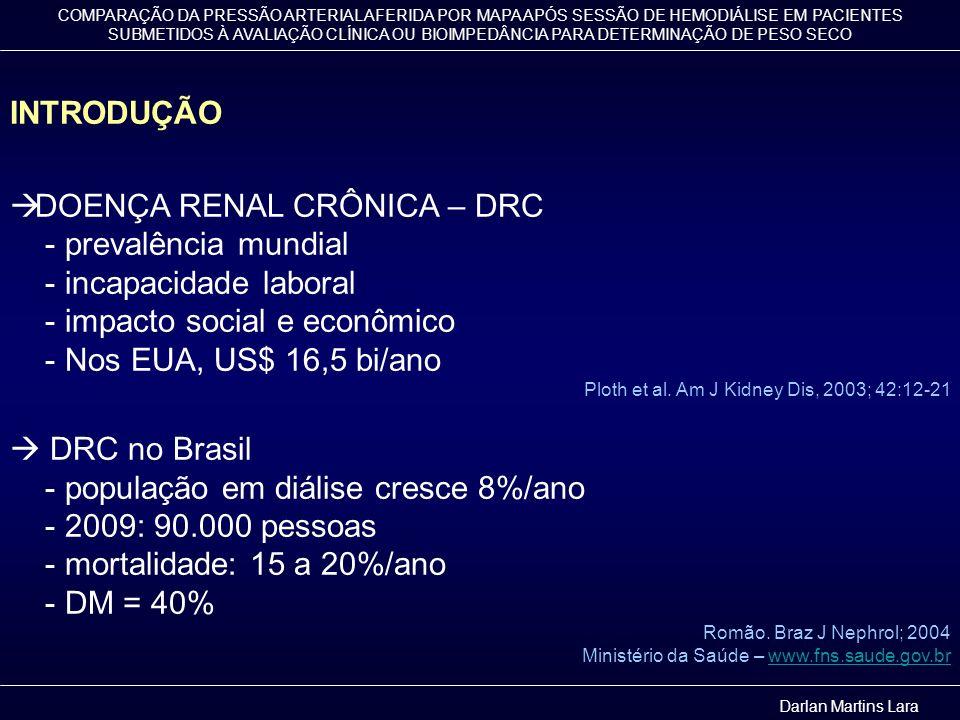 COMPARAÇÃO DA PRESSÃO ARTERIAL AFERIDA POR MAPA APÓS SESSÃO DE HEMODIÁLISE EM PACIENTES SUBMETIDOS À AVALIAÇÃO CLÍNICA OU BIOIMPEDÂNCIA PARA DETERMINAÇÃO DE PESO SECO Tabela 3.