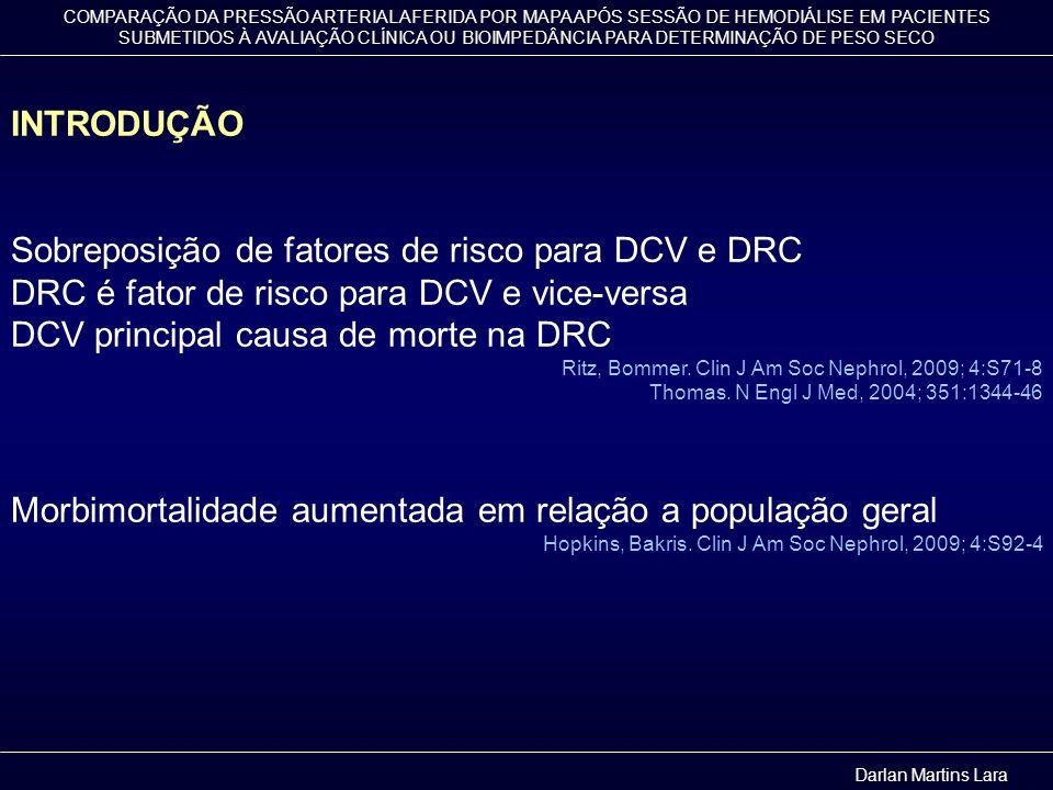 COMPARAÇÃO DA PRESSÃO ARTERIAL AFERIDA POR MAPA APÓS SESSÃO DE HEMODIÁLISE EM PACIENTES SUBMETIDOS À AVALIAÇÃO CLÍNICA OU BIOIMPEDÂNCIA PARA DETERMINAÇÃO DE PESO SECO INTRODUÇÃO FATORES DE RISCO PARA DCV GeraisAgravantes na DRC - Sexo masculino - Idade - Diabetes mellitus - Dislipidemia - Tabagismo - Obesidade - Sedentarismo - Estilo de vida - Hereditariedade - HAS - Hipervolemia - Hiperparatiroidismo - Inflama ç ão crônica - Anemia - Estresse oxidativo - Desnutri ç ão - Hiperuricemia - Proteinuuria - Outros...