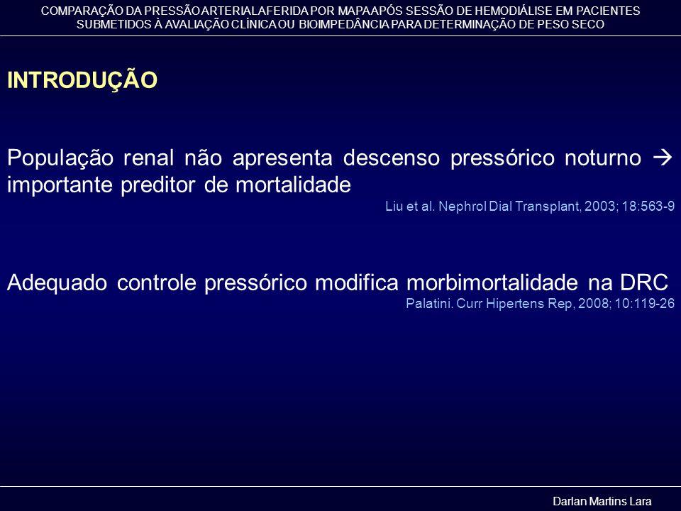COMPARAÇÃO DA PRESSÃO ARTERIAL AFERIDA POR MAPA APÓS SESSÃO DE HEMODIÁLISE EM PACIENTES SUBMETIDOS À AVALIAÇÃO CLÍNICA OU BIOIMPEDÂNCIA PARA DETERMINAÇÃO DE PESO SECO MÉTODO - Síntese P @ R MAPA inicial MAPA pós intervenção Avaliação Clínica Bioimpedância Revisão do peso seco Darlan Martins Lara