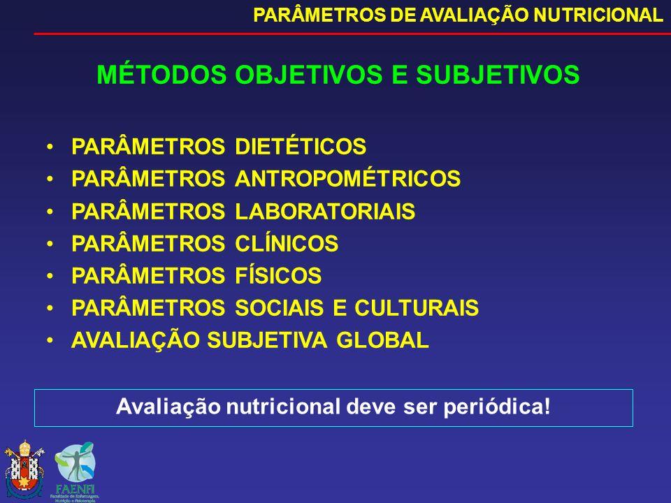 MÉTODOS OBJETIVOS E SUBJETIVOS PARÂMETROS DIETÉTICOS PARÂMETROS ANTROPOMÉTRICOS PARÂMETROS LABORATORIAIS PARÂMETROS CLÍNICOS PARÂMETROS FÍSICOS PARÂME