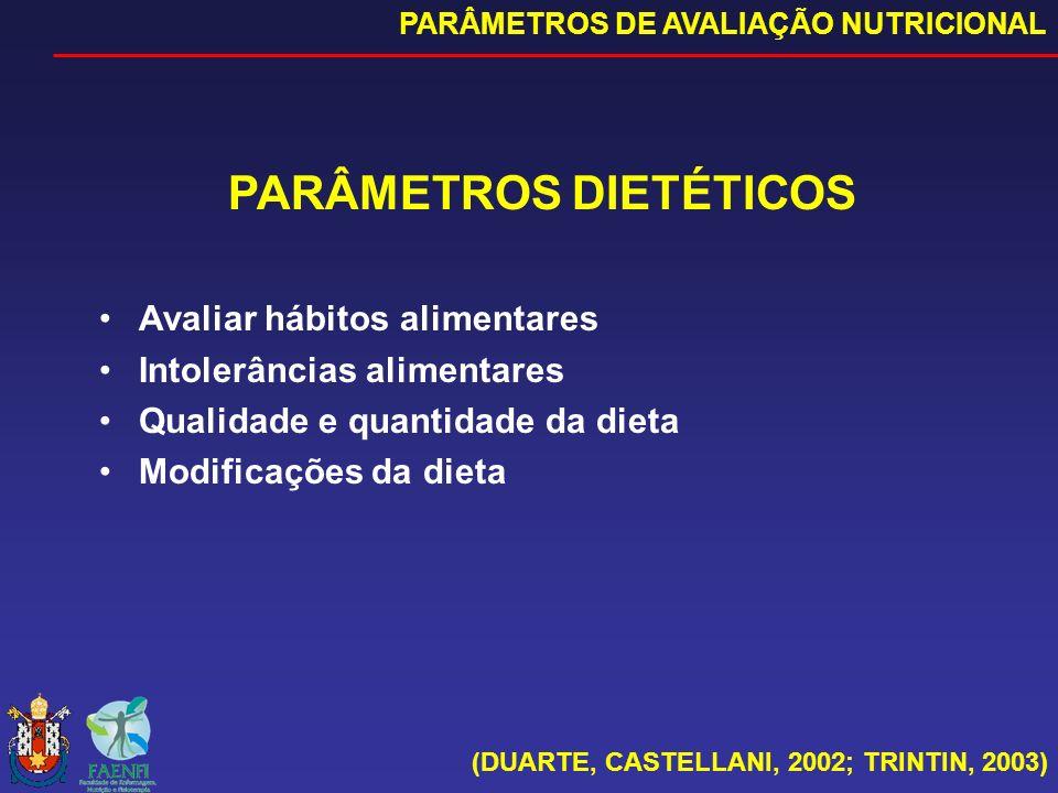 PARÂMETROS DIETÉTICOS Avaliar hábitos alimentares Intolerâncias alimentares Qualidade e quantidade da dieta Modificações da dieta (DUARTE, CASTELLANI,