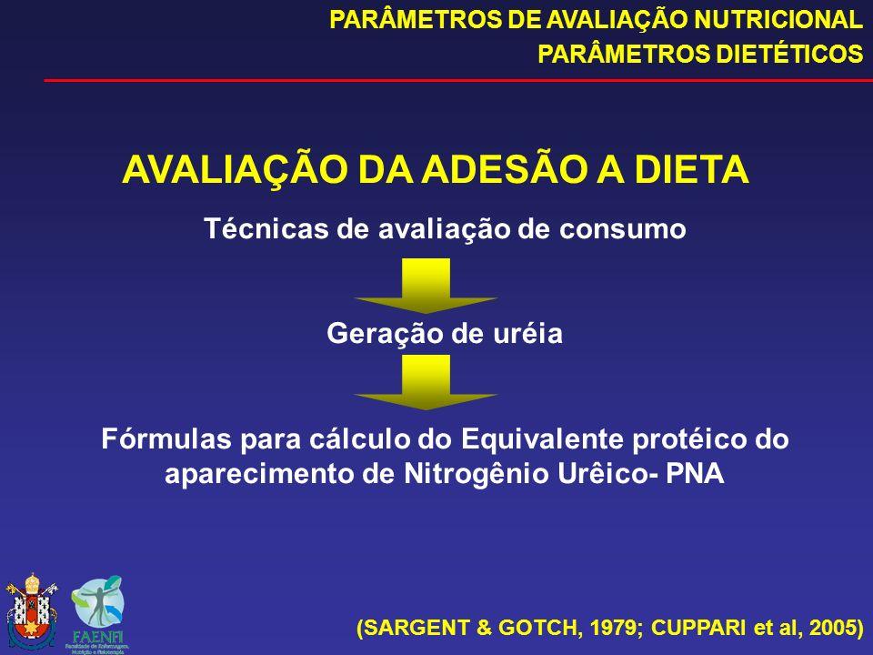 AVALIAÇÃO DA ADESÃO A DIETA Técnicas de avaliação de consumo Geração de uréia Fórmulas para cálculo do Equivalente protéico do aparecimento de Nitrogê