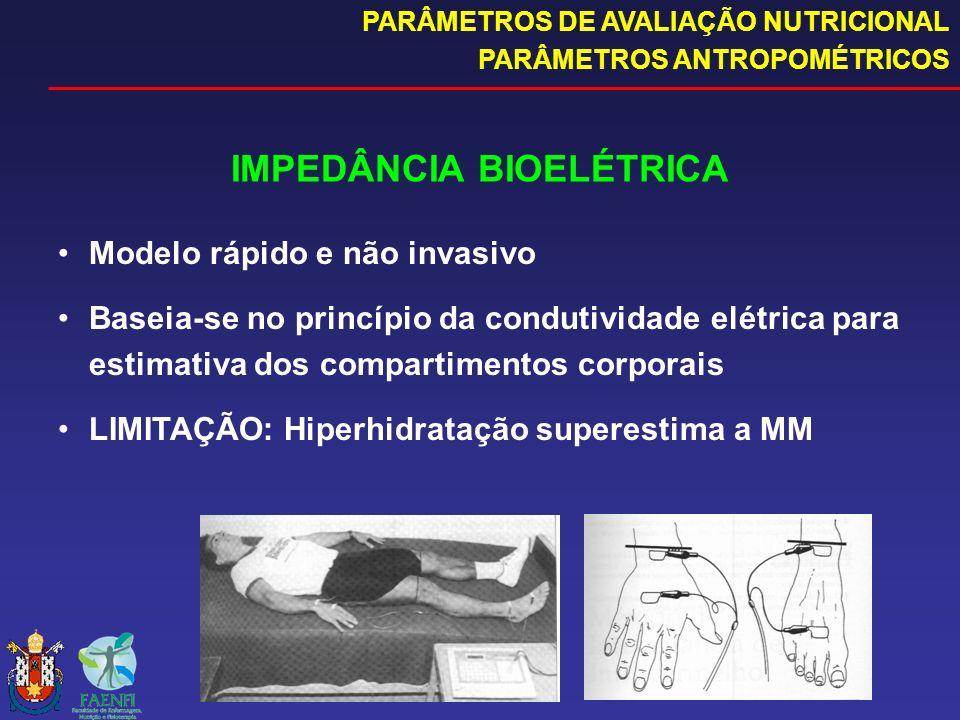 IMPEDÂNCIA BIOELÉTRICA Modelo rápido e não invasivo Baseia-se no princípio da condutividade elétrica para estimativa dos compartimentos corporais LIMI