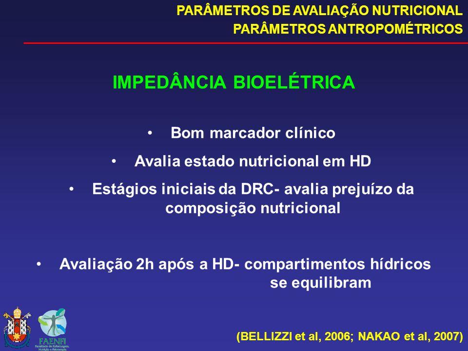 IMPEDÂNCIA BIOELÉTRICA Bom marcador clínico Avalia estado nutricional em HD Estágios iniciais da DRC- avalia prejuízo da composição nutricional Avalia