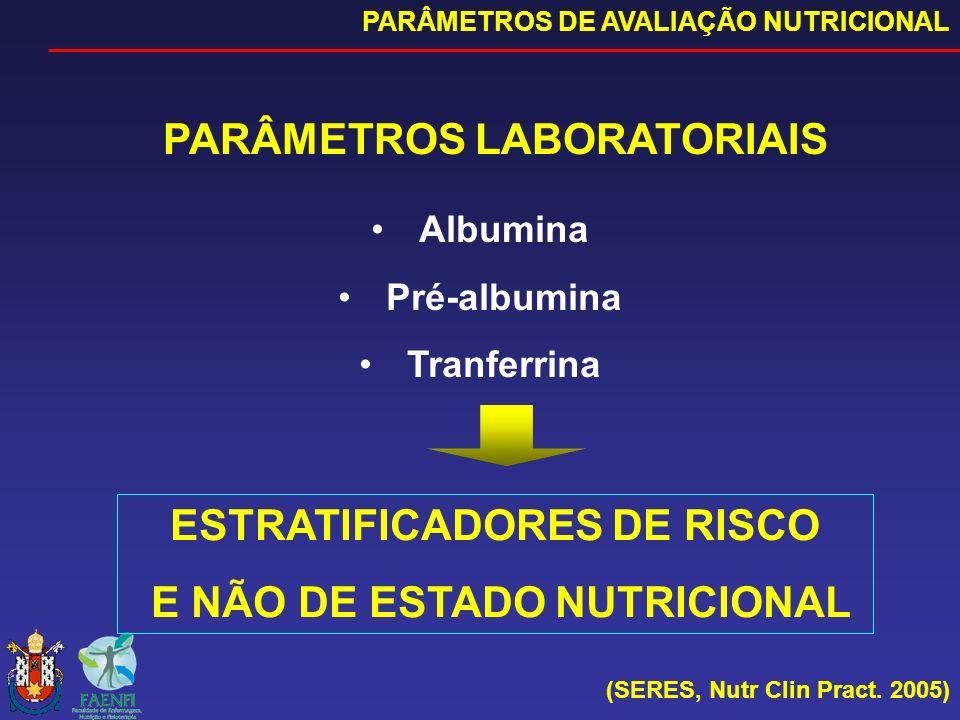 PARÂMETROS LABORATORIAIS PARÂMETROS DE AVALIAÇÃO NUTRICIONAL (SERES, Nutr Clin Pract. 2005) Albumina Pré-albumina Tranferrina ESTRATIFICADORES DE RISC