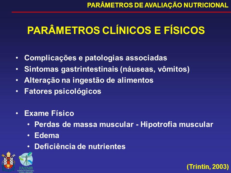 (Trintin, 2003) PARÂMETROS CLÍNICOS E FÍSICOS Complicações e patologias associadas Sintomas gastrintestinais (náuseas, vômitos) Alteração na ingestão