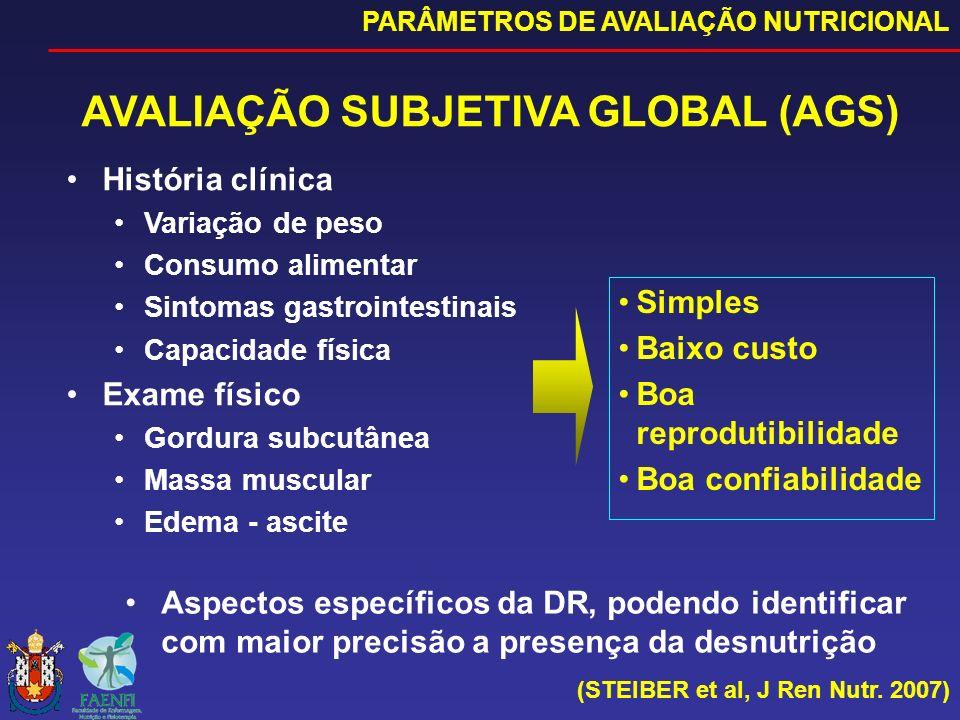 AVALIAÇÃO SUBJETIVA GLOBAL (AGS) PARÂMETROS DE AVALIAÇÃO NUTRICIONAL (STEIBER et al, J Ren Nutr. 2007) História clínica Variação de peso Consumo alime