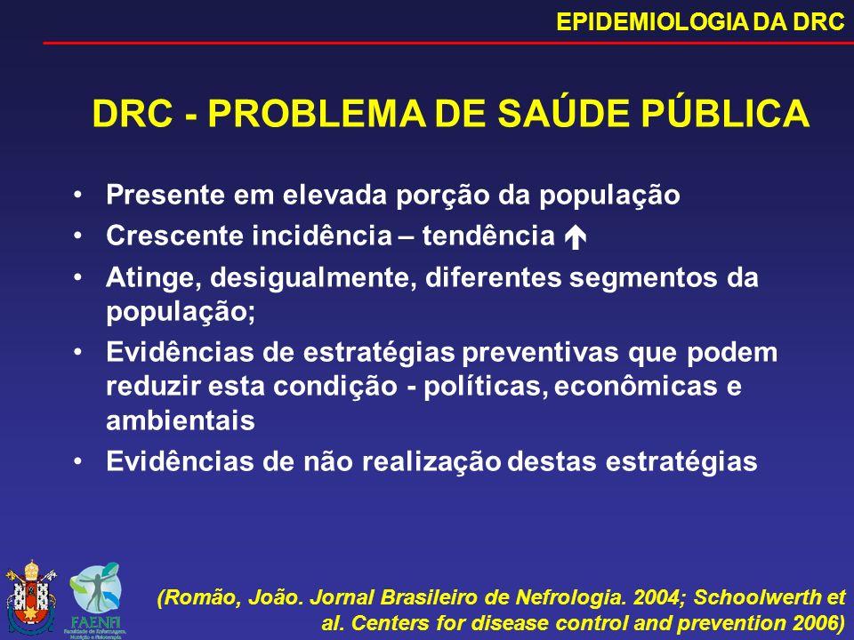 DRC - PROBLEMA DE SAÚDE PÚBLICA Presente em elevada porção da população Crescente incidência – tendência Atinge, desigualmente, diferentes segmentos d