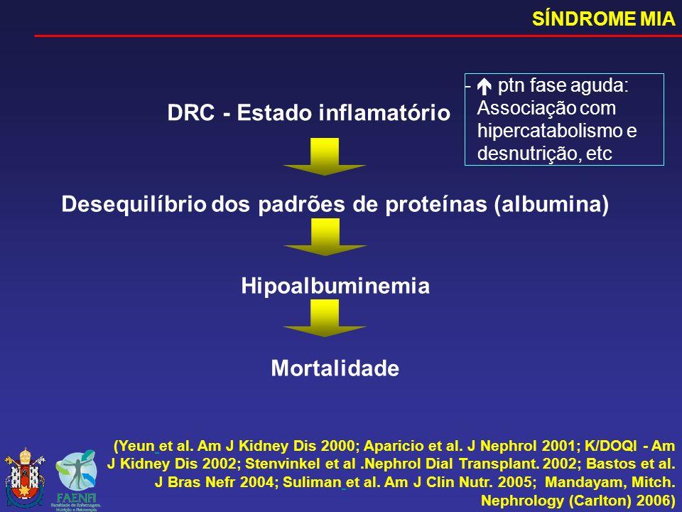 DRC - Estado inflamatório (Yeun et al. Am J Kidney Dis 2000; Aparicio et al. J Nephrol 2001; K/DOQI - Am J Kidney Dis 2002; Stenvinkel et al.Nephrol D