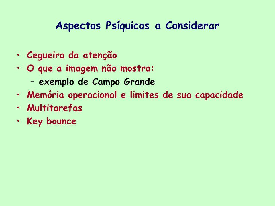 Aspectos Psíquicos a Considerar Cegueira da atenção O que a imagem não mostra: –exemplo de Campo Grande Memória operacional e limites de sua capacidad