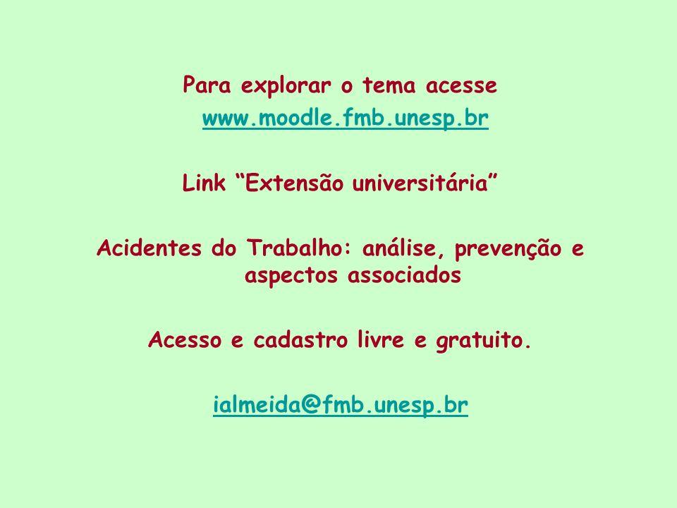 Para explorar o tema acesse www.moodle.fmb.unesp.br Link Extensão universitária Acidentes do Trabalho: análise, prevenção e aspectos associados Acesso