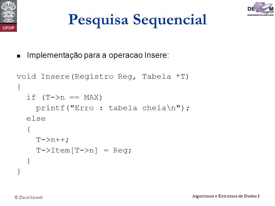 © David Menotti Algoritmos e Estrutura de Dados I Pesquisa Sequencial Implementação para a operacao Insere: void Insere(Registro Reg, Tabela *T) { if