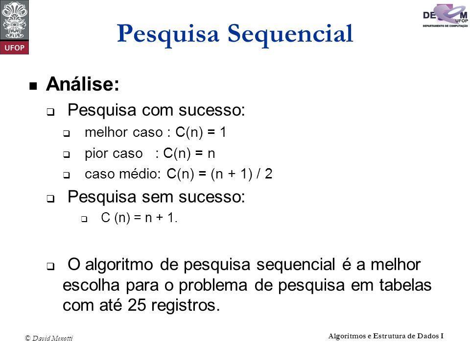 © David Menotti Algoritmos e Estrutura de Dados I Pesquisa Sequencial Análise: Pesquisa com sucesso: melhor caso : C(n) = 1 pior caso : C(n) = n caso