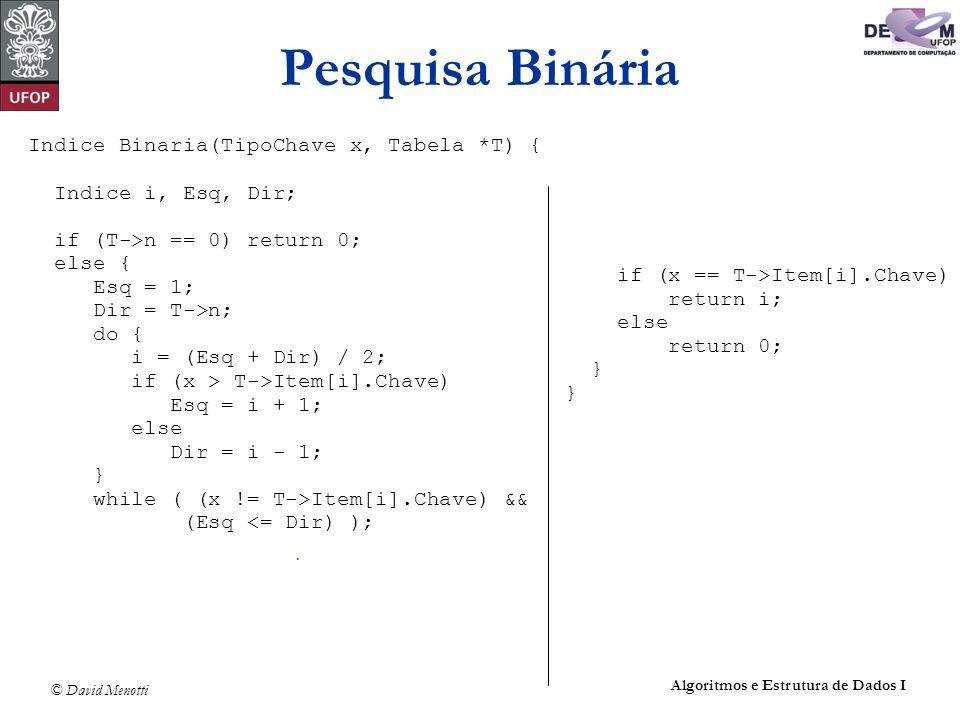 © David Menotti Algoritmos e Estrutura de Dados I Pesquisa Binária Indice Binaria(TipoChave x, Tabela *T) { Indice i, Esq, Dir; if (T->n == 0) return