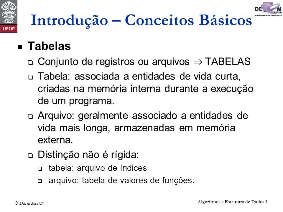 © David Menotti Algoritmos e Estrutura de Dados I Introdução – Conceitos Básicos Tabelas Conjunto de registros ou arquivos TABELAS Tabela: associada a