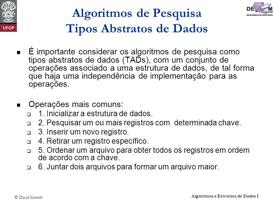 © David Menotti Algoritmos e Estrutura de Dados I Algoritmos de Pesquisa Tipos Abstratos de Dados É importante considerar os algoritmos de pesquisa co