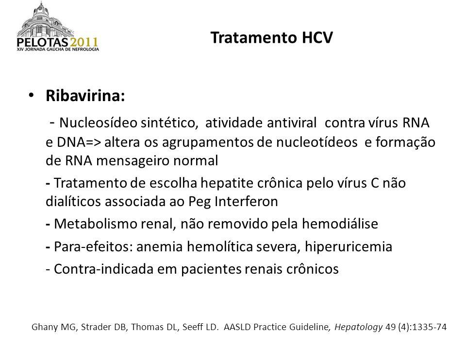 Tratamento HCV Ribavirina: - Nucleosídeo sintético, atividade antiviral contra vírus RNA e DNA=> altera os agrupamentos de nucleotídeos e formação de