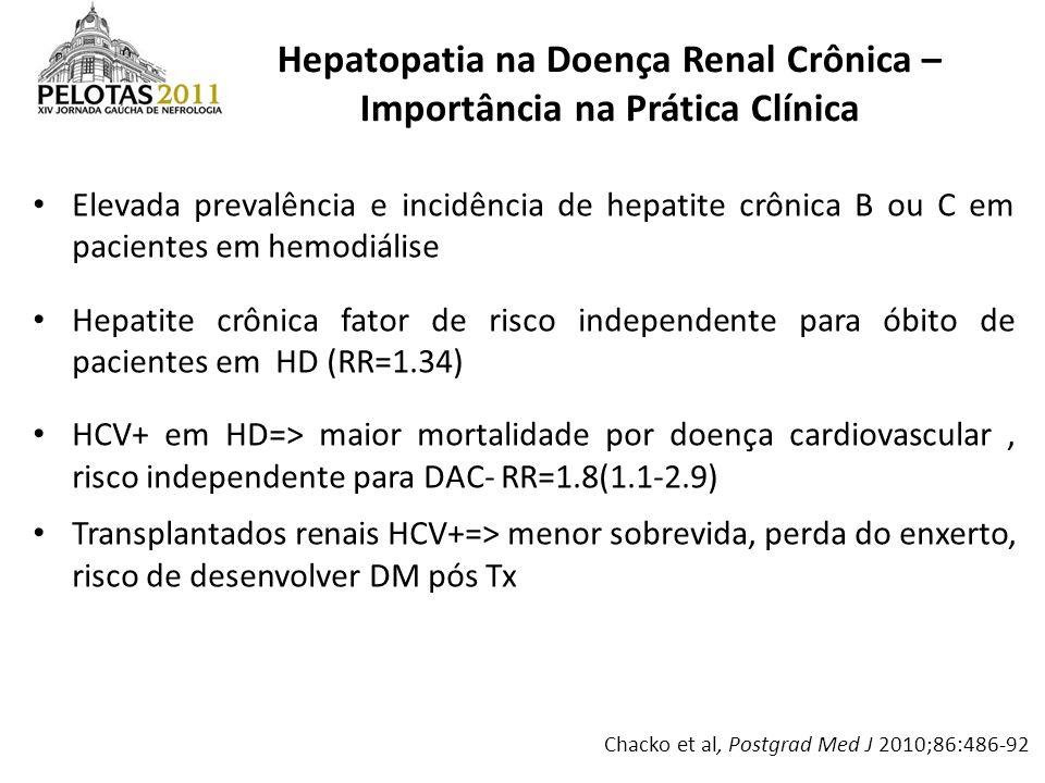 Elevada prevalência e incidência de hepatite crônica B ou C em pacientes em hemodiálise Hepatite crônica fator de risco independente para óbito de pac