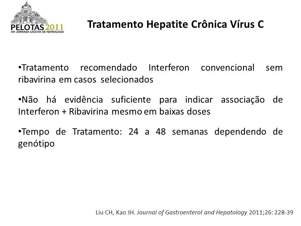 Tratamento Hepatite Crônica Vírus C Tratamento recomendado Interferon convencional sem ribavirina em casos selecionados Não há evidência suficiente pa