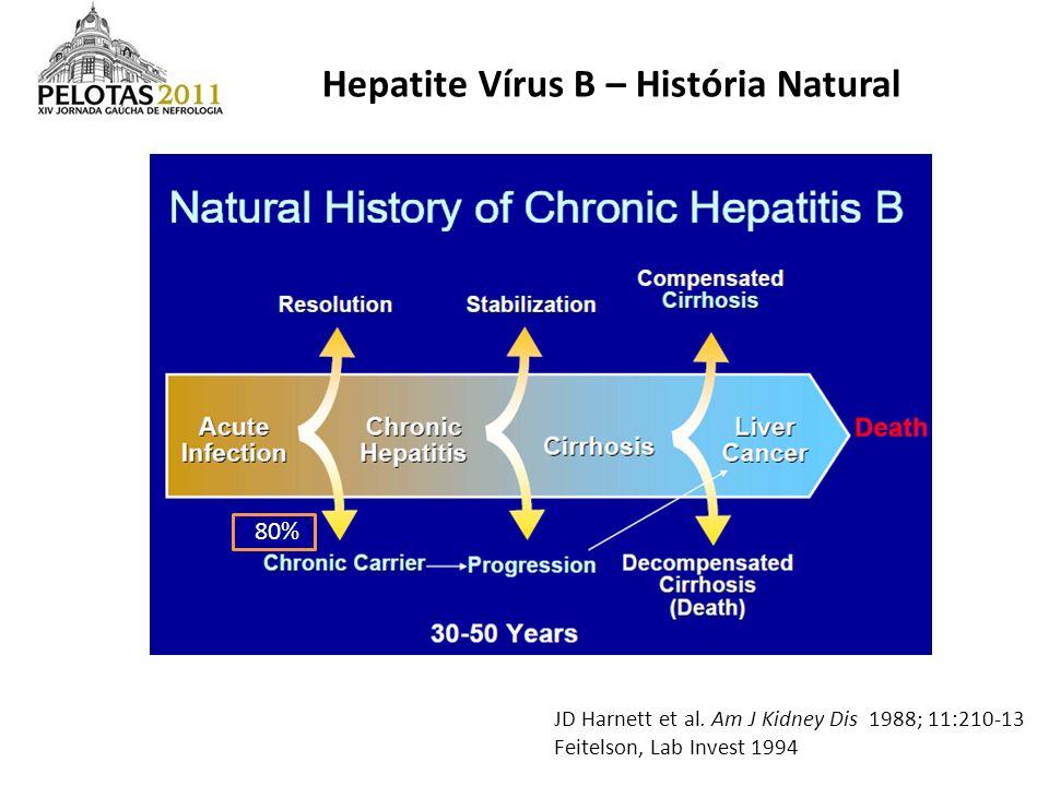 Hepatite Vírus B – História Natural JD Harnett et al. Am J Kidney Dis 1988; 11:210-13 Feitelson, Lab Invest 1994 80%