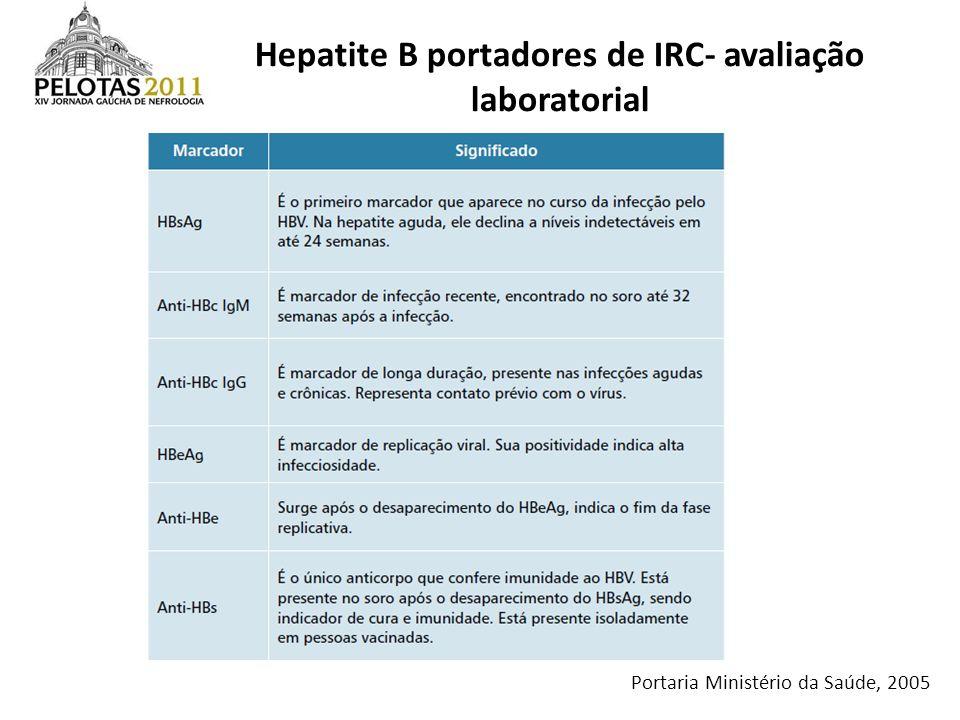 Portaria Ministério da Saúde, 2005 Hepatite B portadores de IRC- avaliação laboratorial