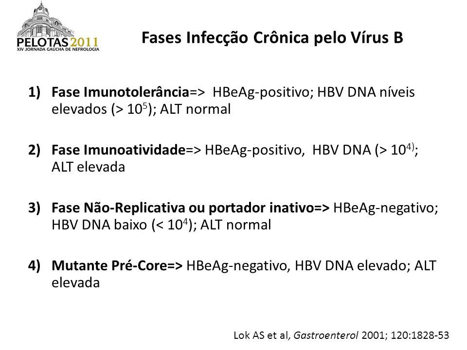 1)Fase Imunotolerância=> HBeAg-positivo; HBV DNA níveis elevados (> 10 5 ); ALT normal 2)Fase Imunoatividade=> HBeAg-positivo, HBV DNA (> 10 4) ; ALT