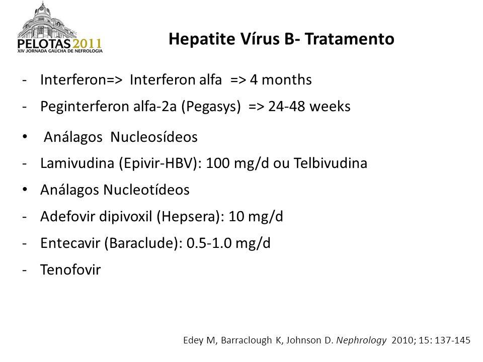 -Interferon=> Interferon alfa => 4 months -Peginterferon alfa-2a (Pegasys) => 24-48 weeks Análagos Nucleosídeos -Lamivudina (Epivir-HBV): 100 mg/d ou