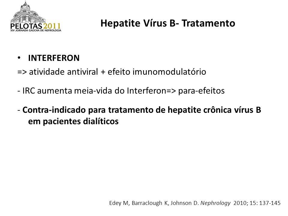 INTERFERON => atividade antiviral + efeito imunomodulatório - IRC aumenta meia-vida do Interferon=> para-efeitos - Contra-indicado para tratamento de