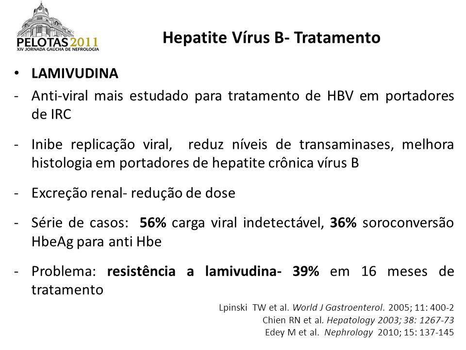 LAMIVUDINA -Anti-viral mais estudado para tratamento de HBV em portadores de IRC -Inibe replicação viral, reduz níveis de transaminases, melhora histo