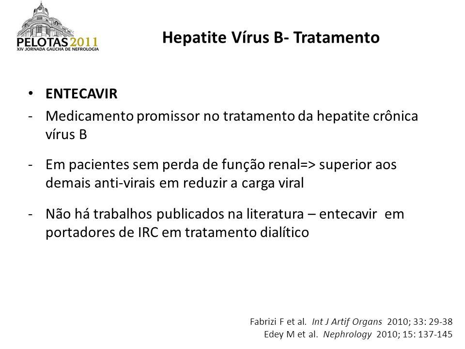 ENTECAVIR -Medicamento promissor no tratamento da hepatite crônica vírus B -Em pacientes sem perda de função renal=> superior aos demais anti-virais e