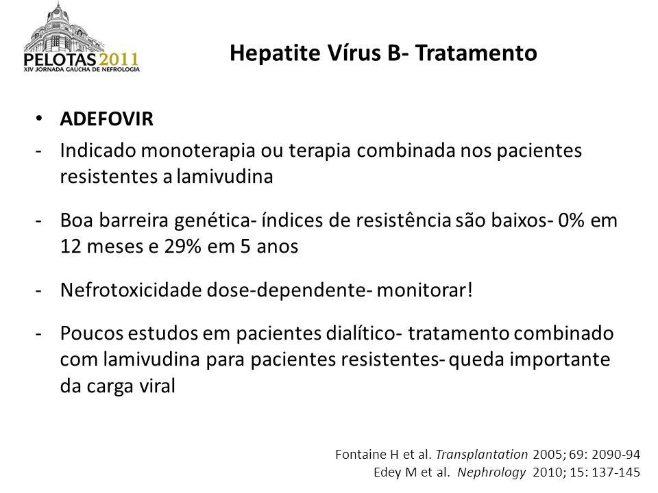 ADEFOVIR -Indicado monoterapia ou terapia combinada nos pacientes resistentes a lamivudina -Boa barreira genética- índices de resistência são baixos-