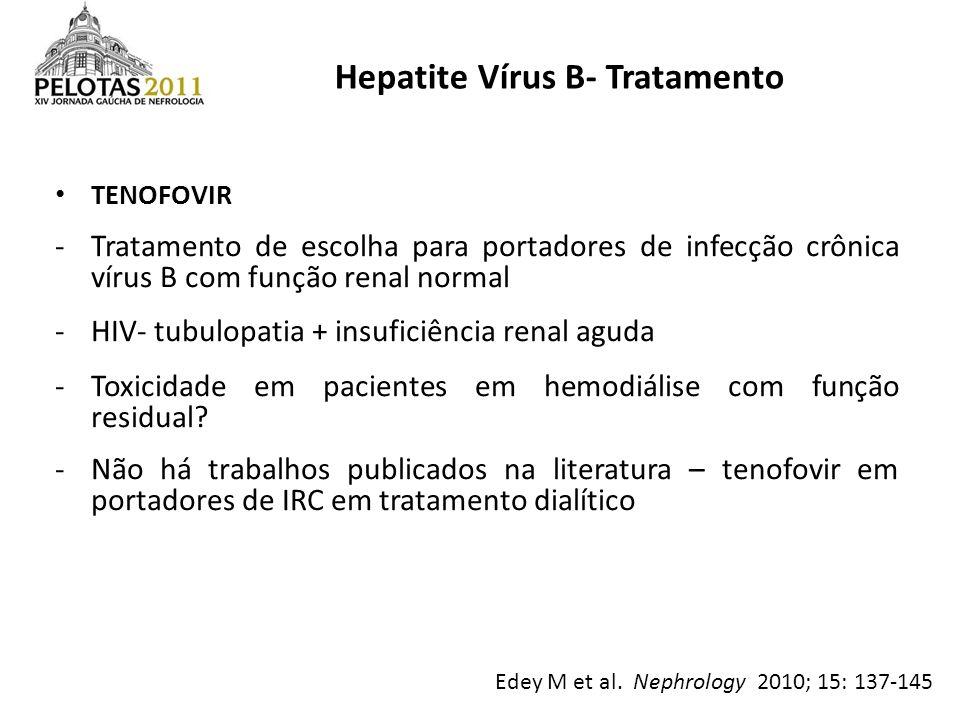 TENOFOVIR -Tratamento de escolha para portadores de infecção crônica vírus B com função renal normal -HIV- tubulopatia + insuficiência renal aguda -To