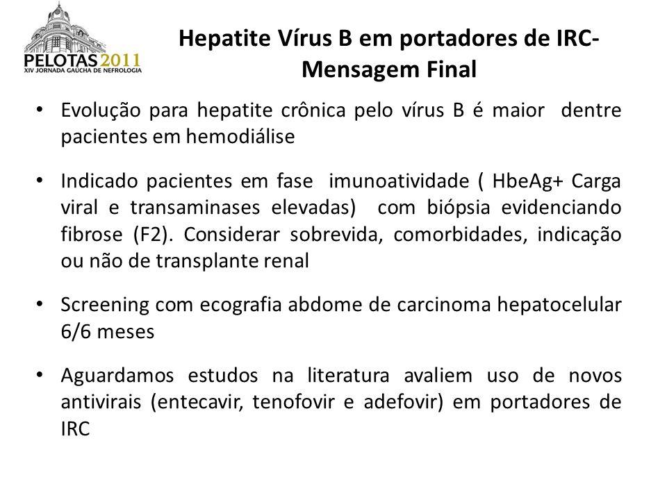 Hepatite Vírus B em portadores de IRC- Mensagem Final Evolução para hepatite crônica pelo vírus B é maior dentre pacientes em hemodiálise Indicado pac