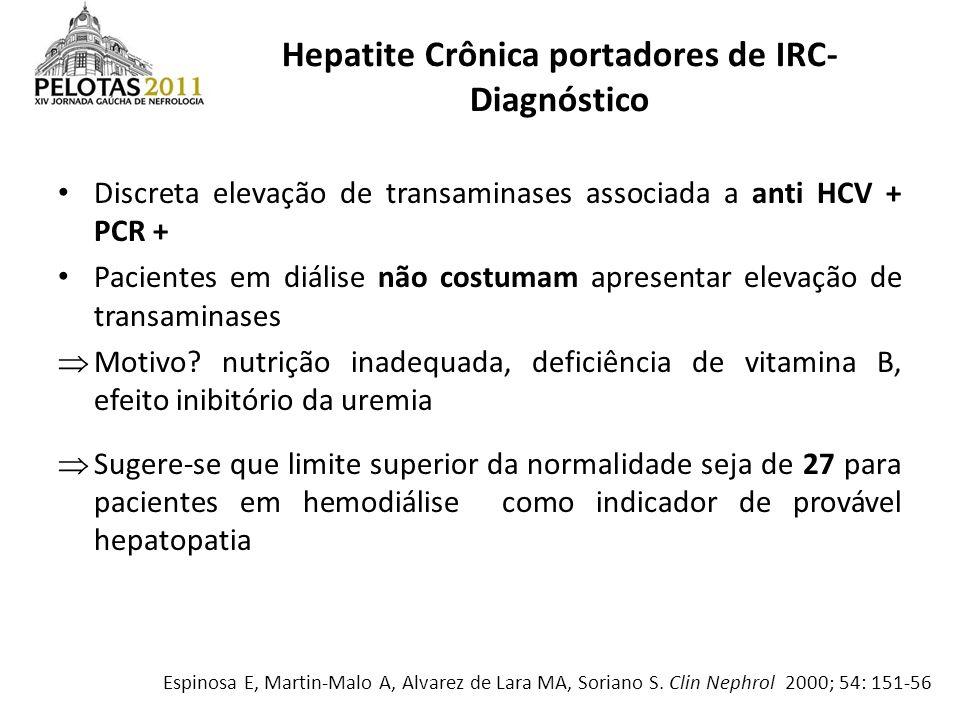 Discreta elevação de transaminases associada a anti HCV + PCR + Pacientes em diálise não costumam apresentar elevação de transaminases Motivo? nutriçã