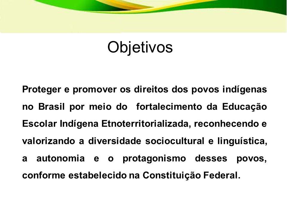 Objetivos Proteger e promover os direitos dos povos indígenas no Brasil por meio do fortalecimento da Educação Escolar Indígena Etnoterritorializada, reconhecendo e valorizando a diversidade sociocultural e linguística, a autonomia e o protagonismo desses povos, conforme estabelecido na Constituição Federal.