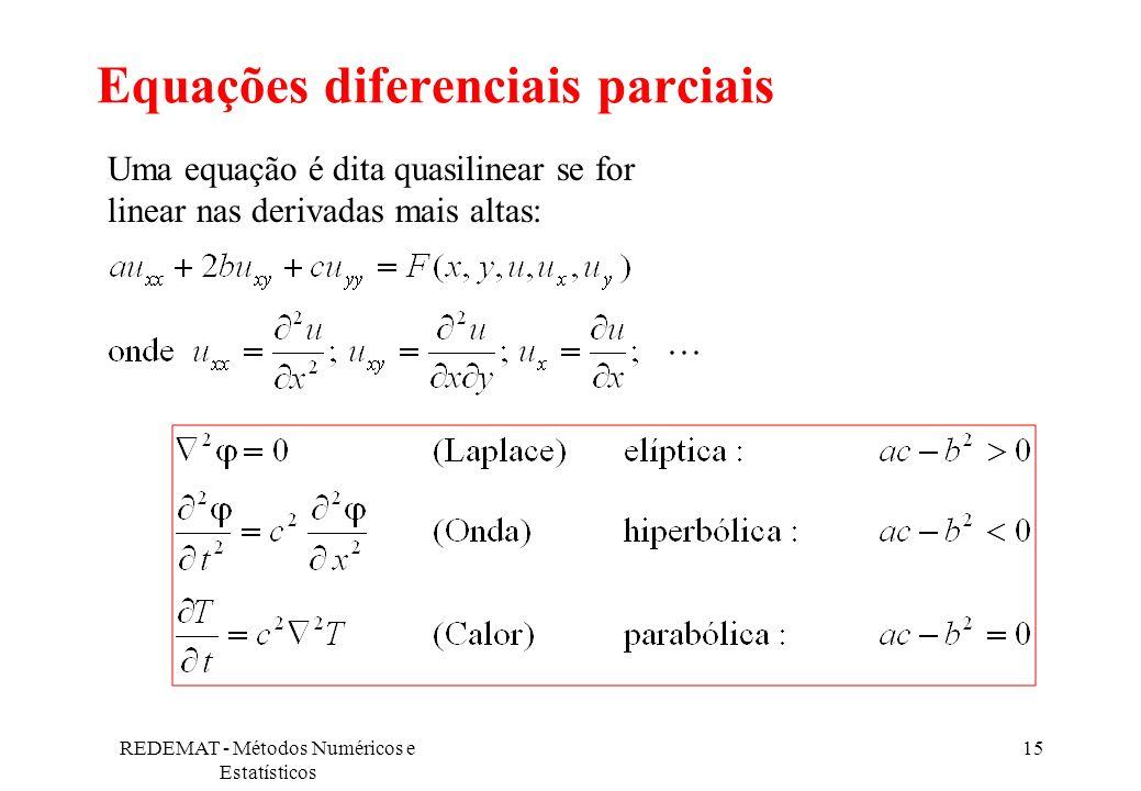 REDEMAT - Métodos Numéricos e Estatísticos 15 Equações diferenciais parciais Uma equação é dita quasilinear se for linear nas derivadas mais altas: