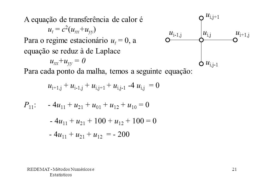 REDEMAT - Métodos Numéricos e Estatísticos 21 A equação de transferência de calor é u t = c 2 (u xx +u yy ) Para o regime estacionário u t = 0, a equa