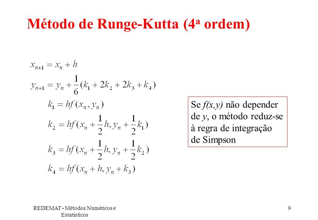 REDEMAT - Métodos Numéricos e Estatísticos 9 Método de Runge-Kutta (4 a ordem) Se f(x,y) não depender de y, o método reduz-se à regra de integração de