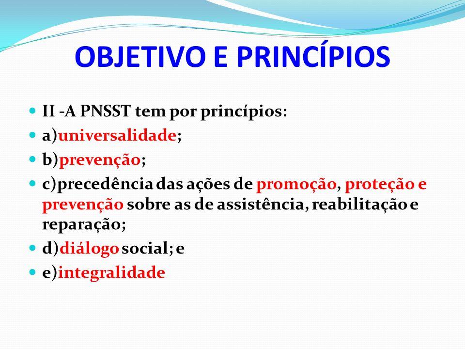 OBJETIVO E PRINCÍPIOS II -A PNSST tem por princípios: a)universalidade; b)prevenção; c)precedência das ações de promoção, proteção e prevenção sobre a