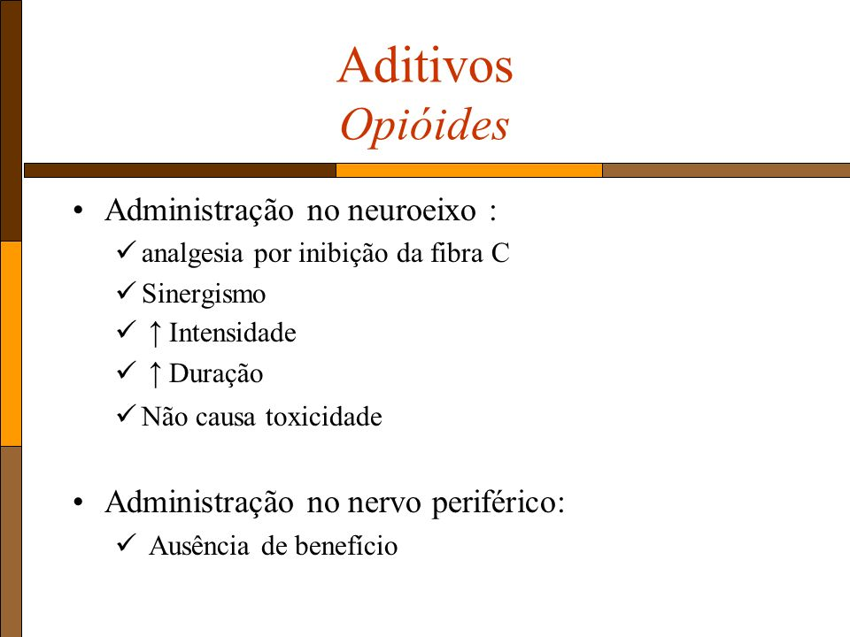 Aditivos Opióides Administração no neuroeixo : analgesia por inibição da fibra C Sinergismo Intensidade Duração Não causa toxicidade Administração no nervo periférico: Ausência de benefício