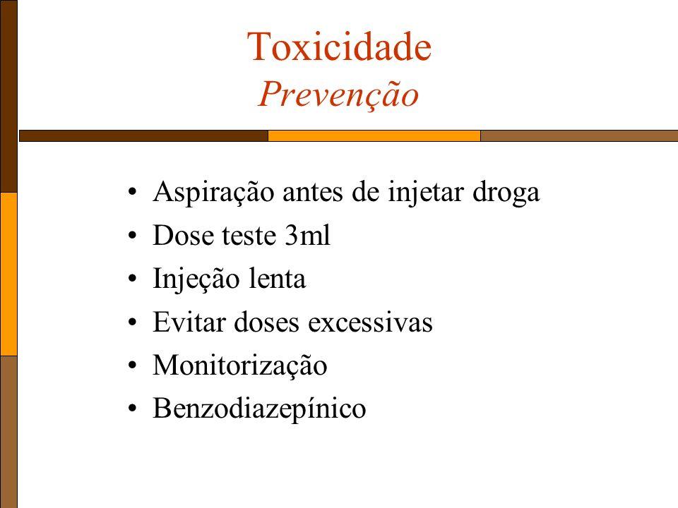 Toxicidade Prevenção Aspiração antes de injetar droga Dose teste 3ml Injeção lenta Evitar doses excessivas Monitorização Benzodiazepínico