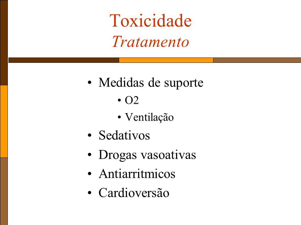 Medidas de suporte O2 Ventilação Sedativos Drogas vasoativas Antiarritmicos Cardioversão Toxicidade Tratamento