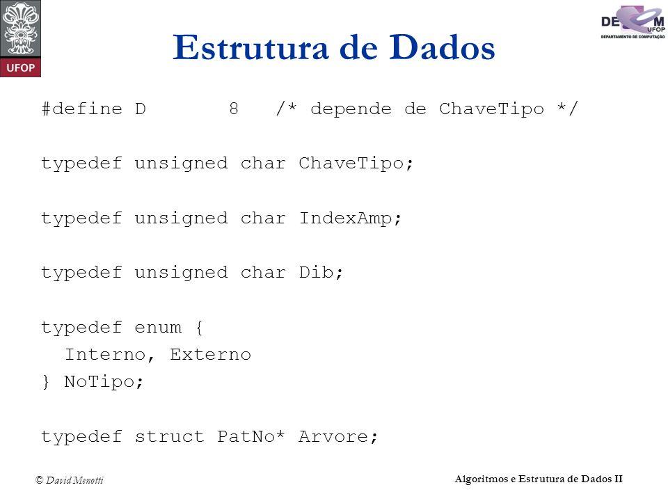 © David Menotti Algoritmos e Estrutura de Dados II Estrutura de Dados #define D 8 /* depende de ChaveTipo */ typedef unsigned char ChaveTipo; typedef unsigned char IndexAmp; typedef unsigned char Dib; typedef enum { Interno, Externo } NoTipo; typedef struct PatNo* Arvore;